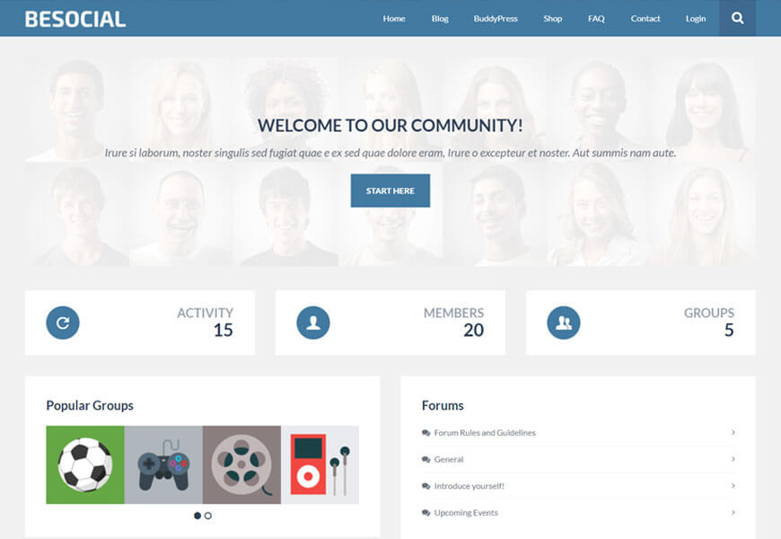 Besocial is a social networking sites WordPress theme