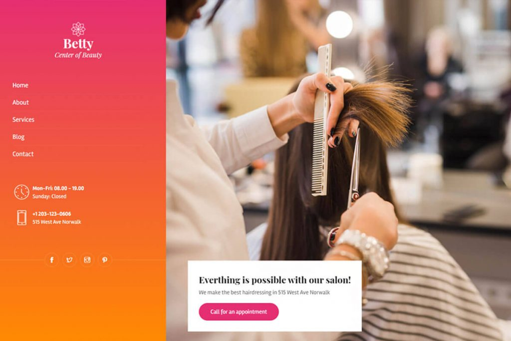 Betty is the niche beauty salon website templates