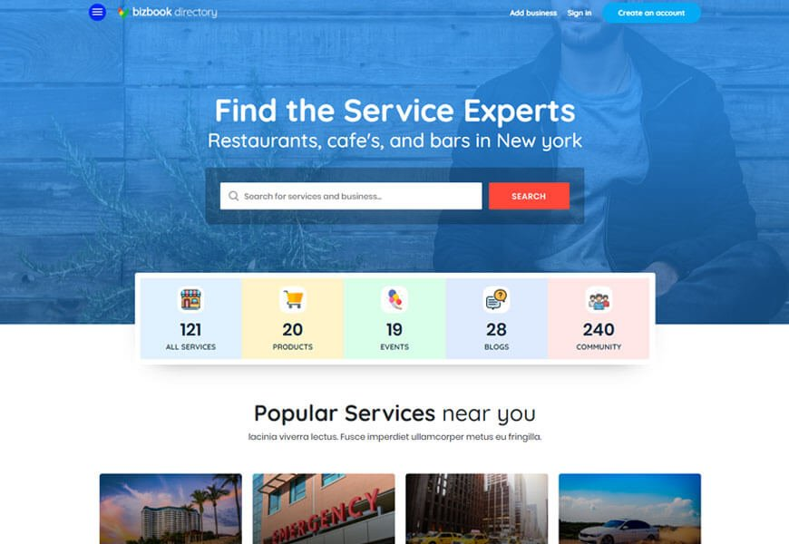 BizBook is one of the directory website templates