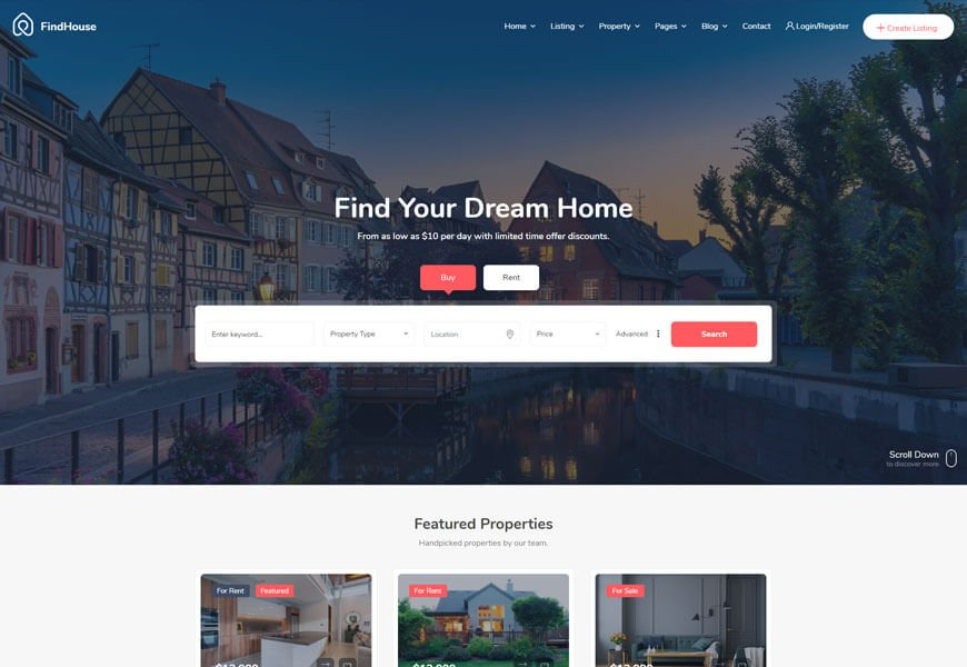 Findhouse another specialized classified website template