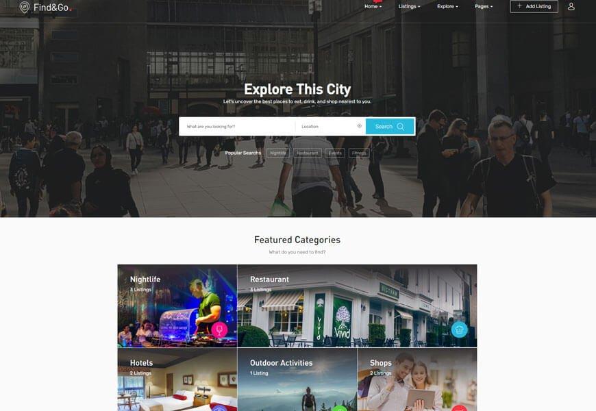 Findgo business directory WordPress theme