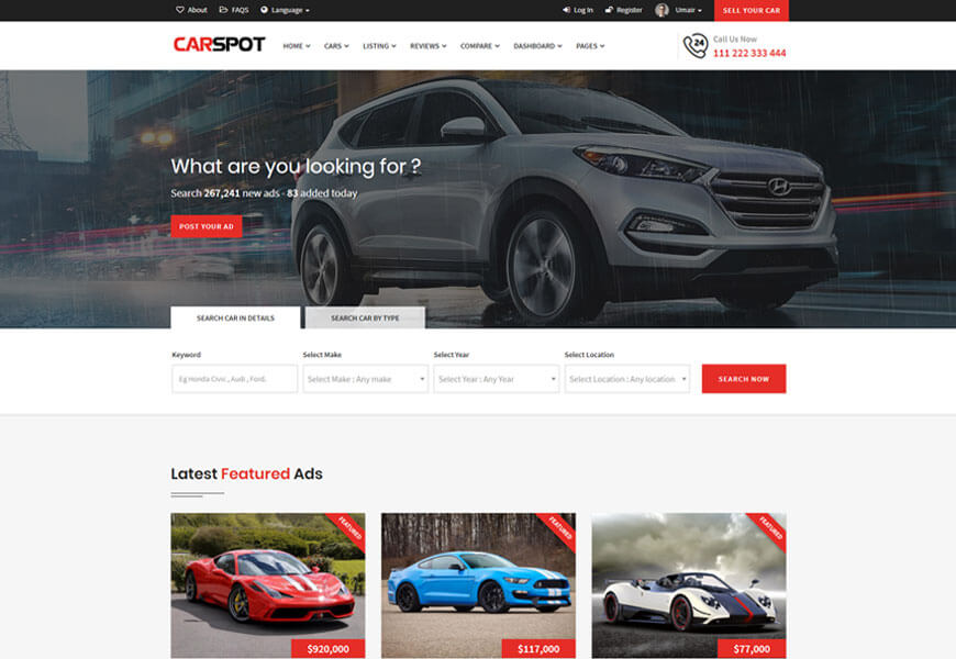 carspot is the bootstrap classified website template