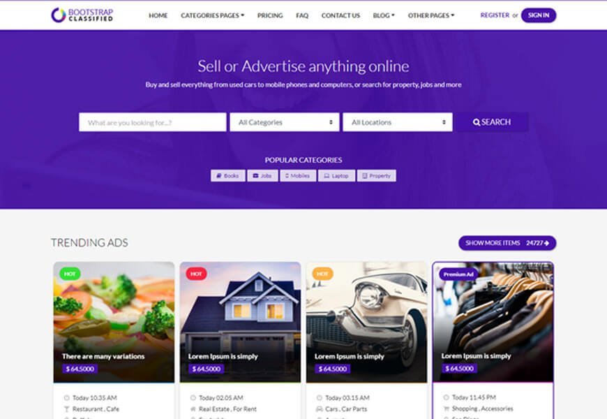 OBootstrap classified website templates