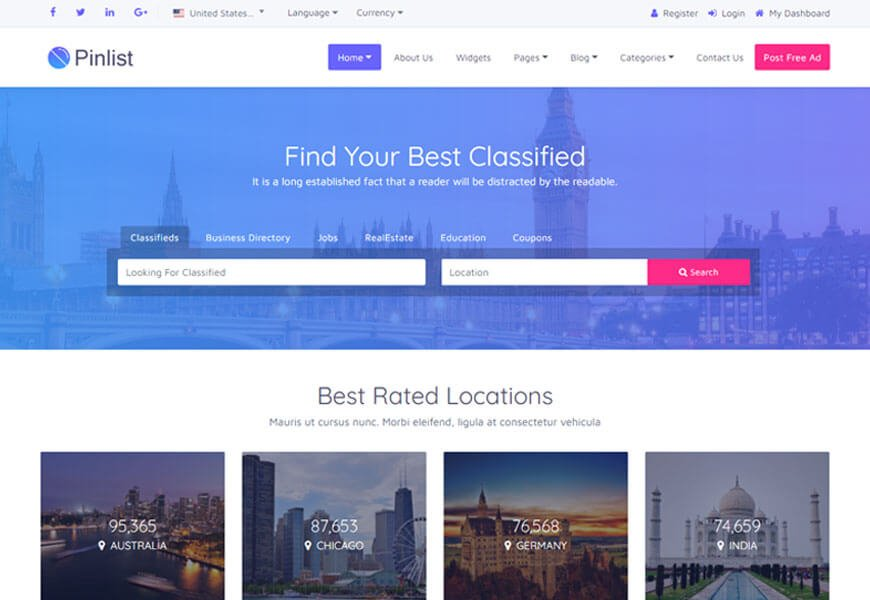 Pinlist is an exceptional directory HTML template