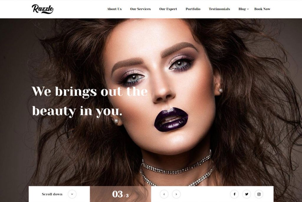 razzle beauty salon website templates