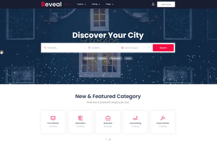 Reveal is an incredible business directory wordpress theme