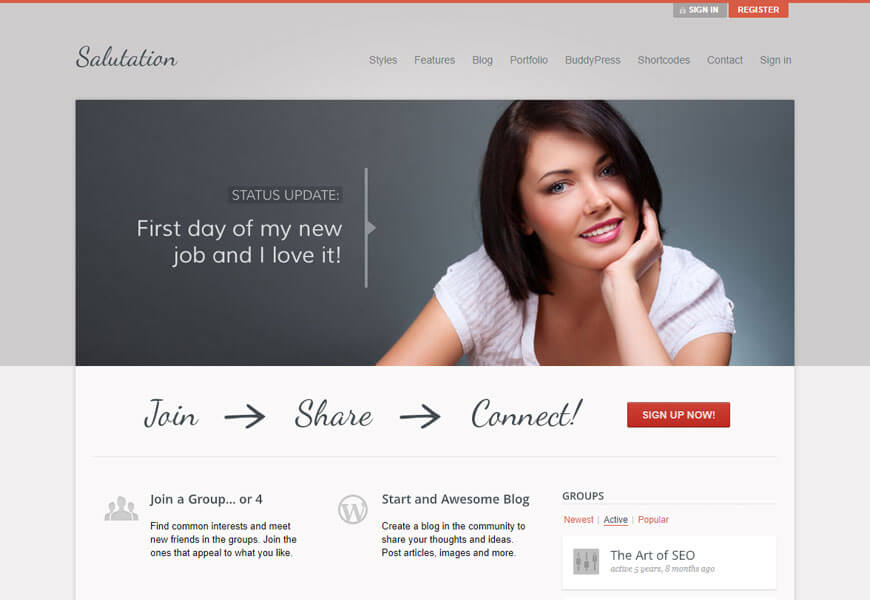 Salutation is one of the best BuddyPress WordPress themes