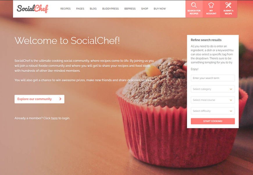 SocialChef is one of the best BuddyPress WordPress themes