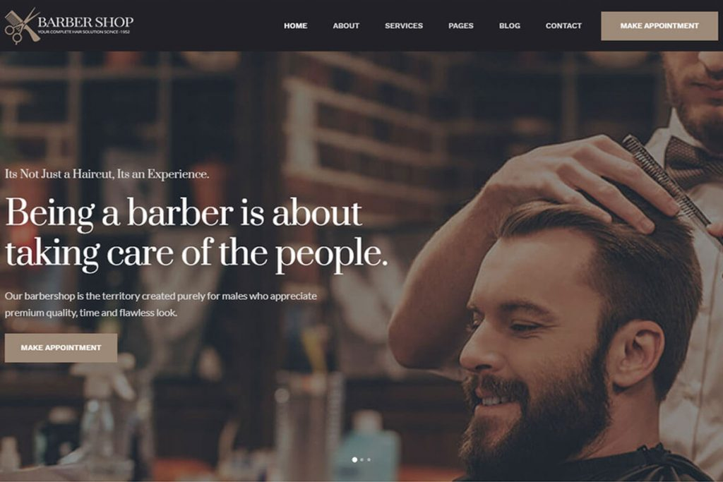 barbershop one of the best salon website template