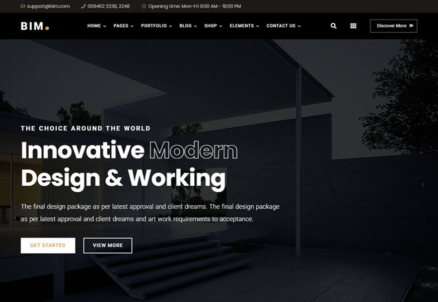 BIM is an architecture, design studio, creative agency, and Elementor theme