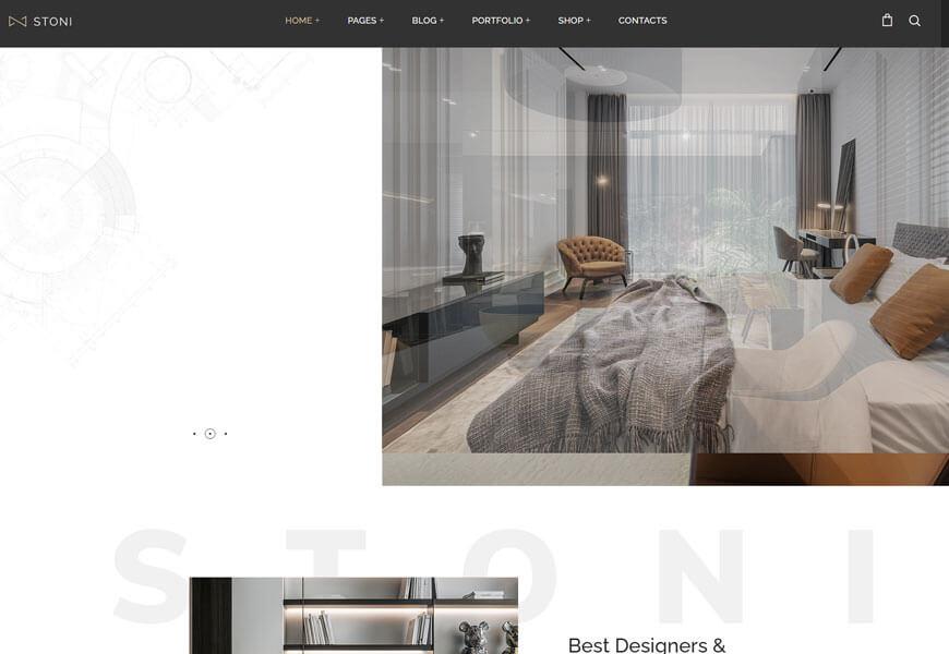 interior and exterior design portfolios WordPress theme
