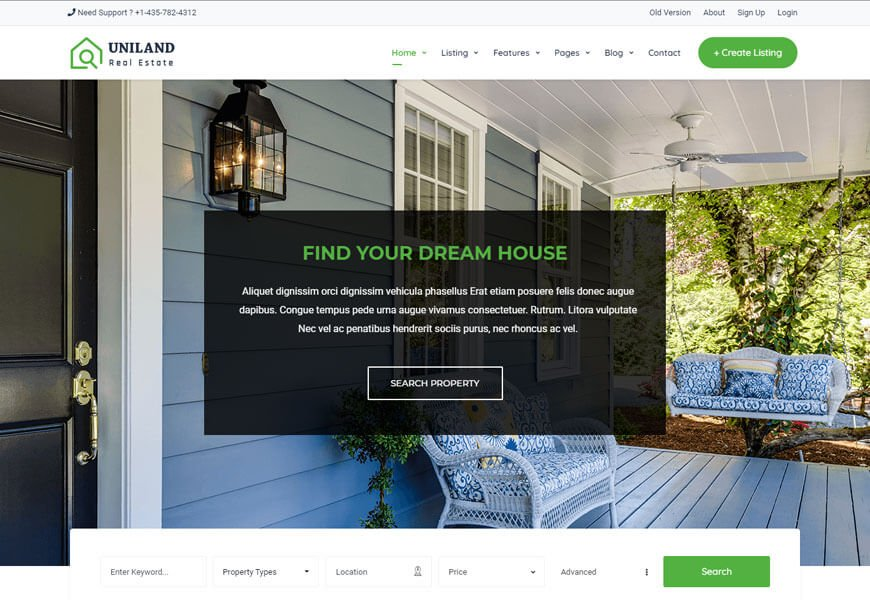 best real estate website template