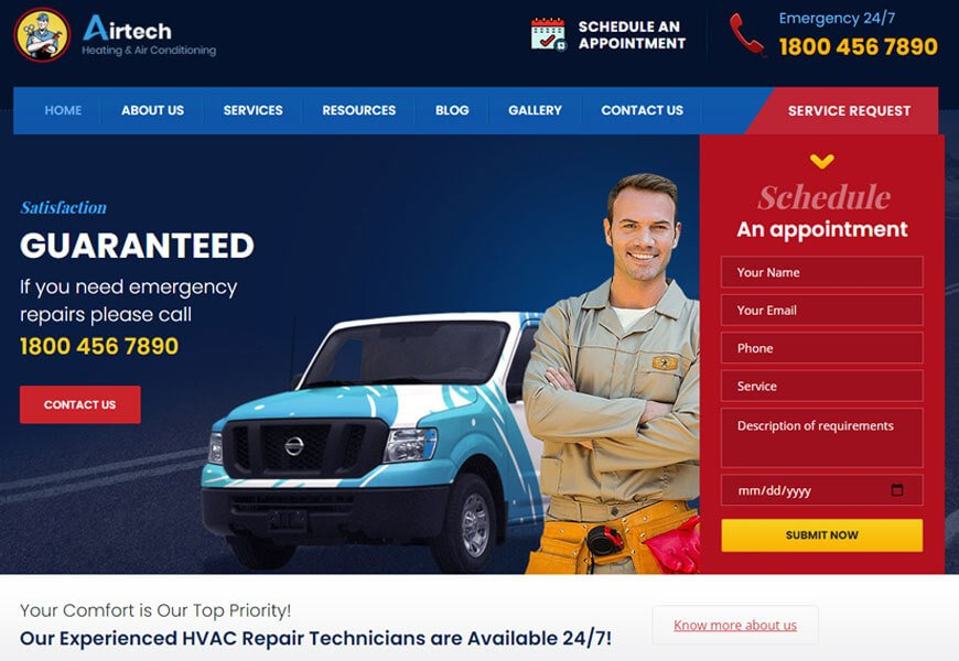 Airtech is a versatile theme for plumbers, roofing and building WordPress theme