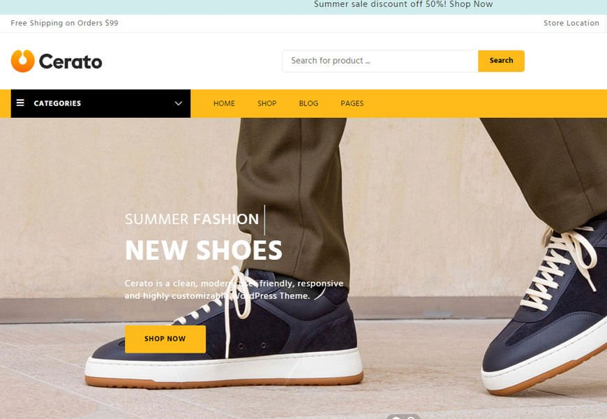 Cerato is a WooCommerce theme built with Elementor