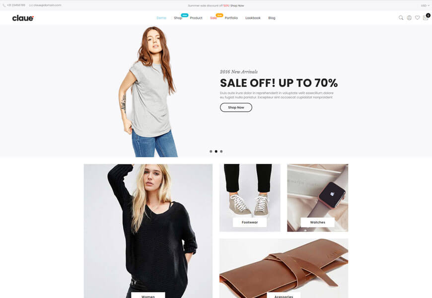 Claue is one of the best responsive woocommerce theme
