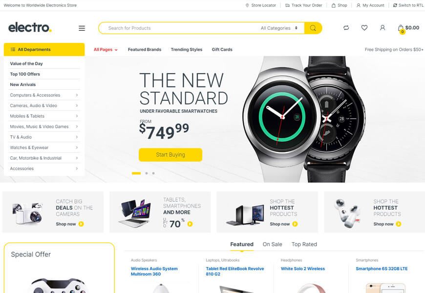 Electro is a powerful and flexible premium WordPress WooCommerce theme