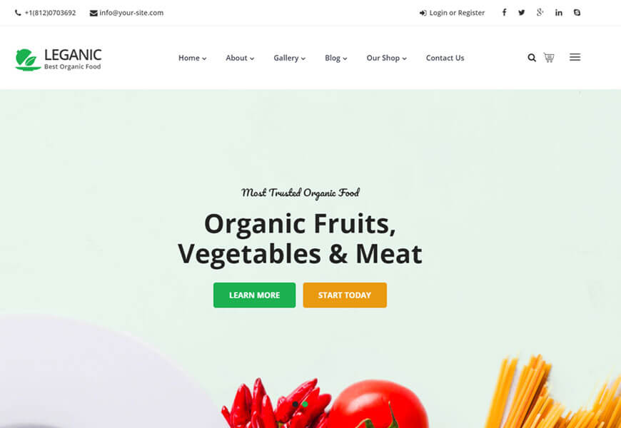 organic fruits and vegetables woocommerce theme