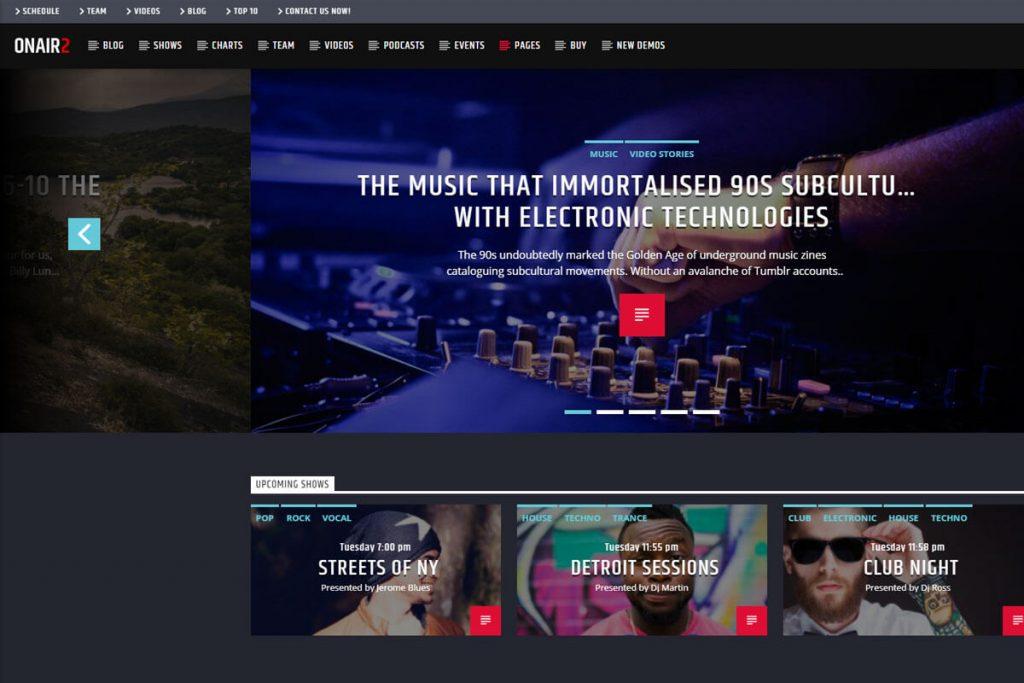 Onair2 - online radio WordPress theme