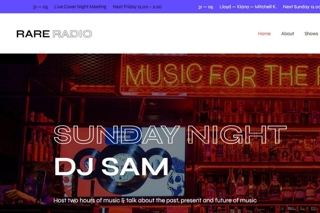 Rare Radio is another radio station WordPress theme