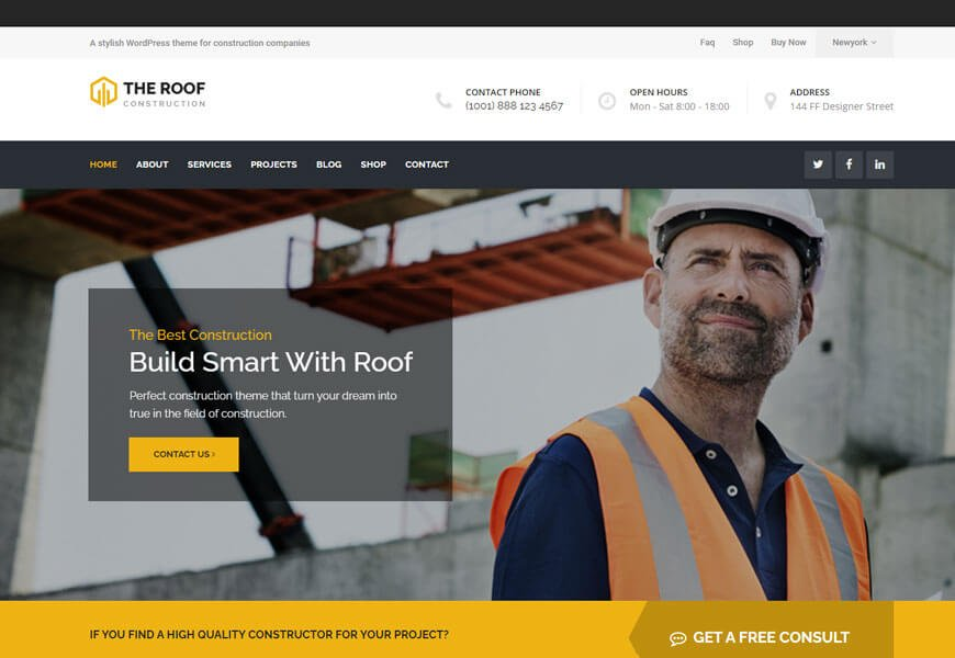 Roof is one of the best WordPress theme for roofing company