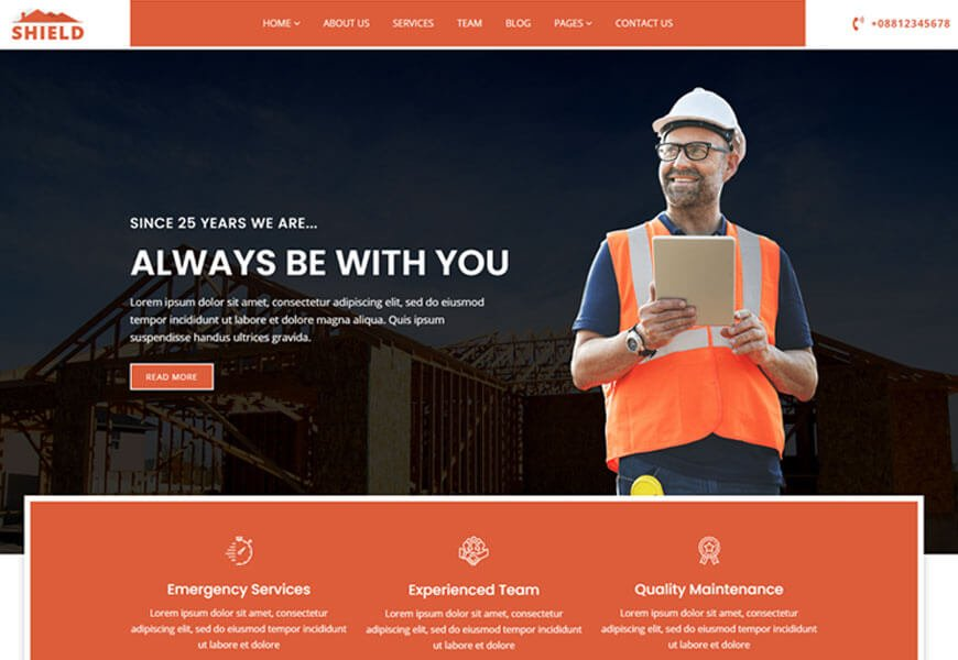 building and roofing company WordPress theme