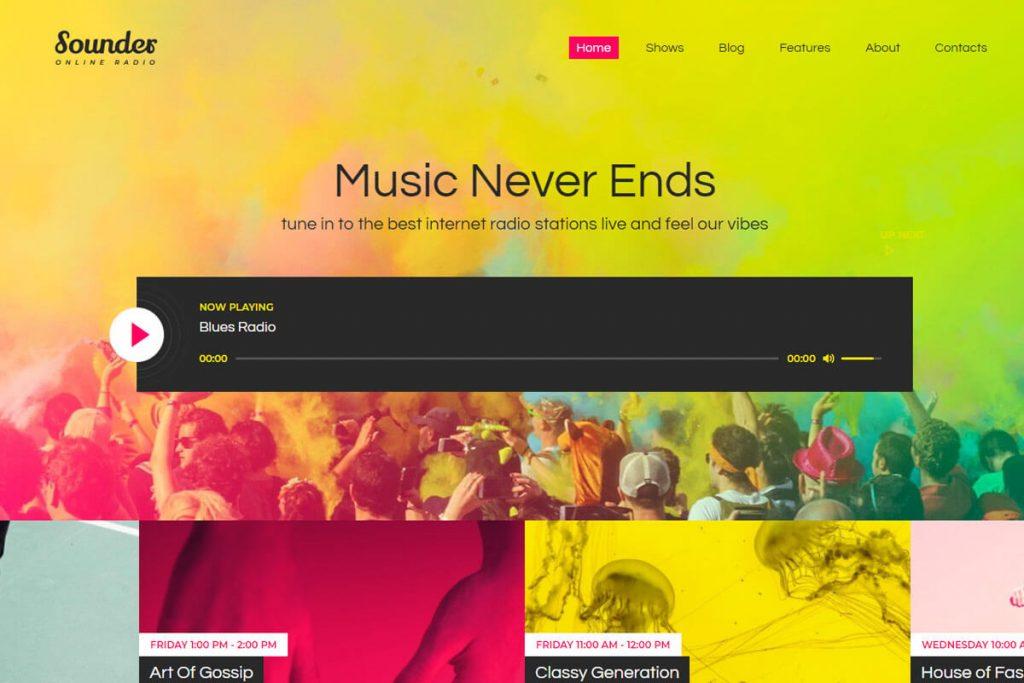 Sounder - online radio streaming WordPress theme