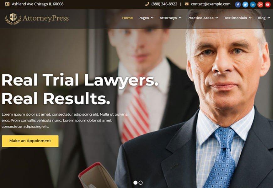 Attorney Press is a law firm WordPress theme