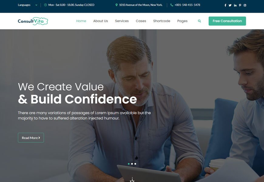 Consult Vita is a visa consulting website template
