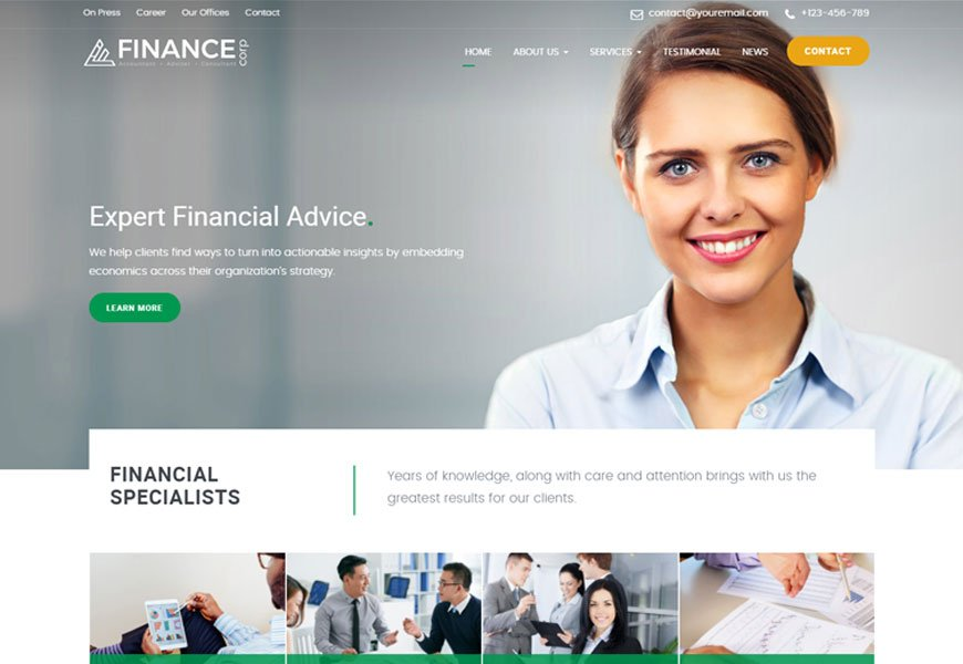 Finance Corp is finance business consulting website template