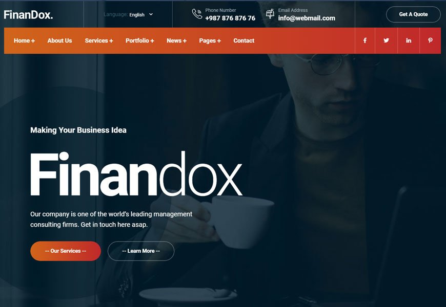 Finandox is a business consulting website HTML template