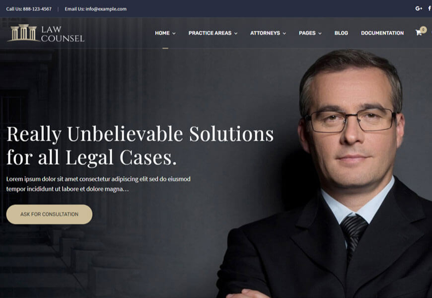 LawCounsel is another best law firm WordPress theme