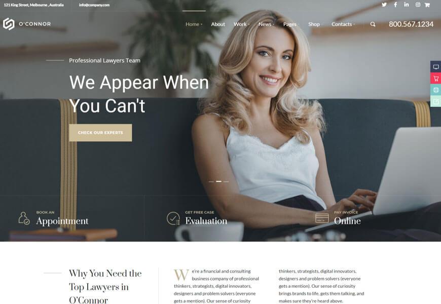 Oconnor is the attorney WordPress theme