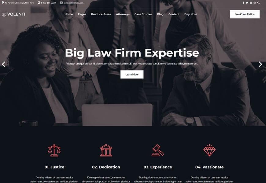 Volenti is a law firm WordPress theme
