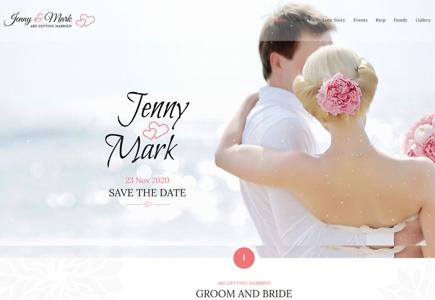 Wedding event is an HTML template for couple events