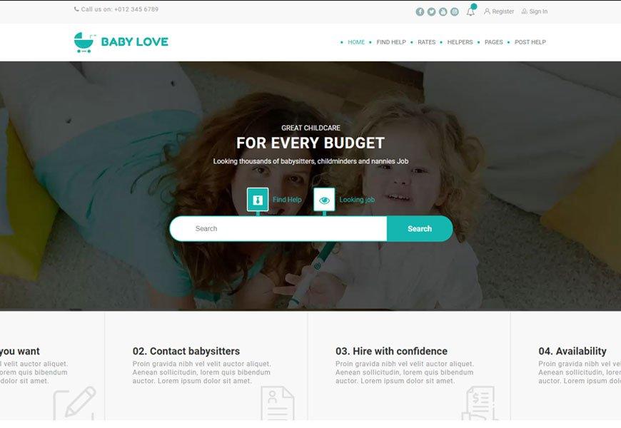 Baby Love - best job board WordPress theme