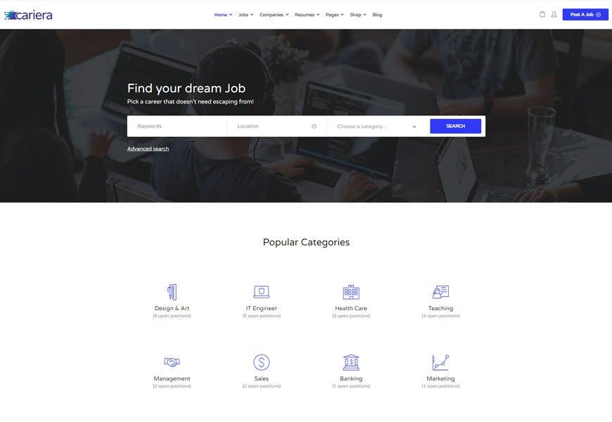 Cariera - job board WordPress theme