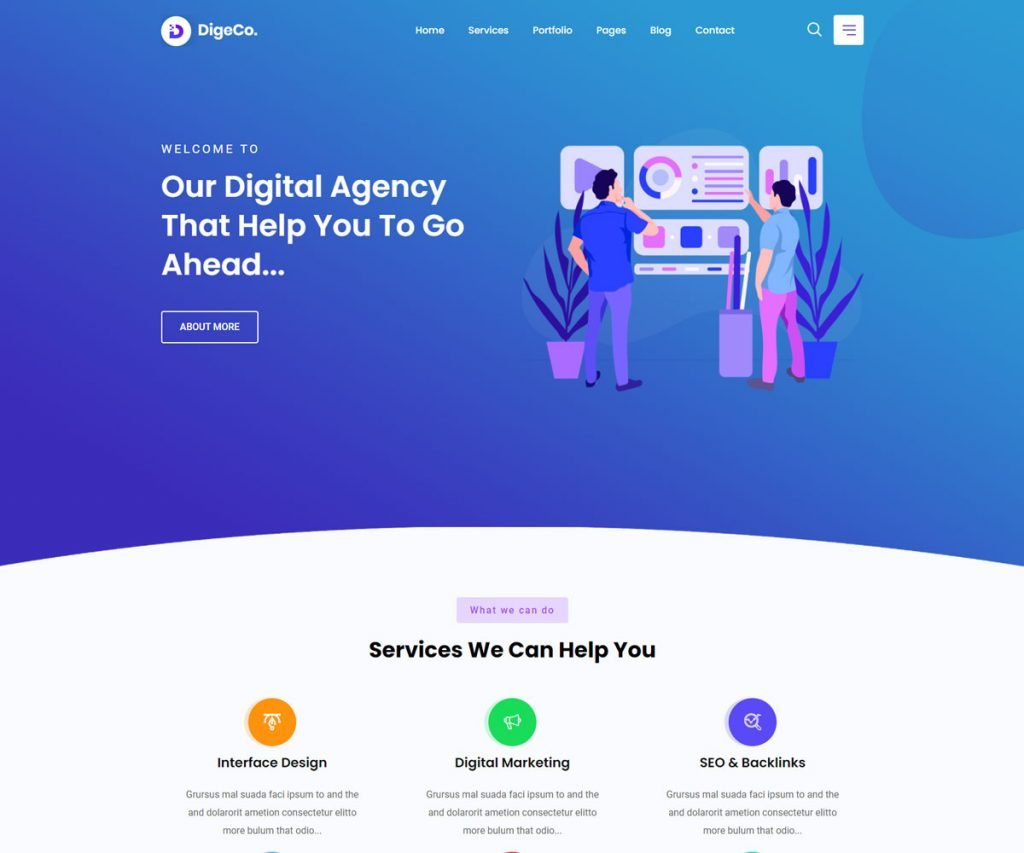 Digeco is an excellent HTML template for SaaS startup agencies