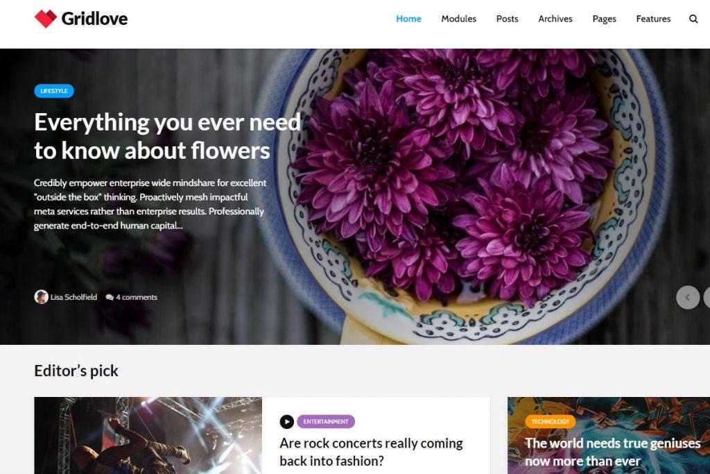 Gridlove - news WordPress theme