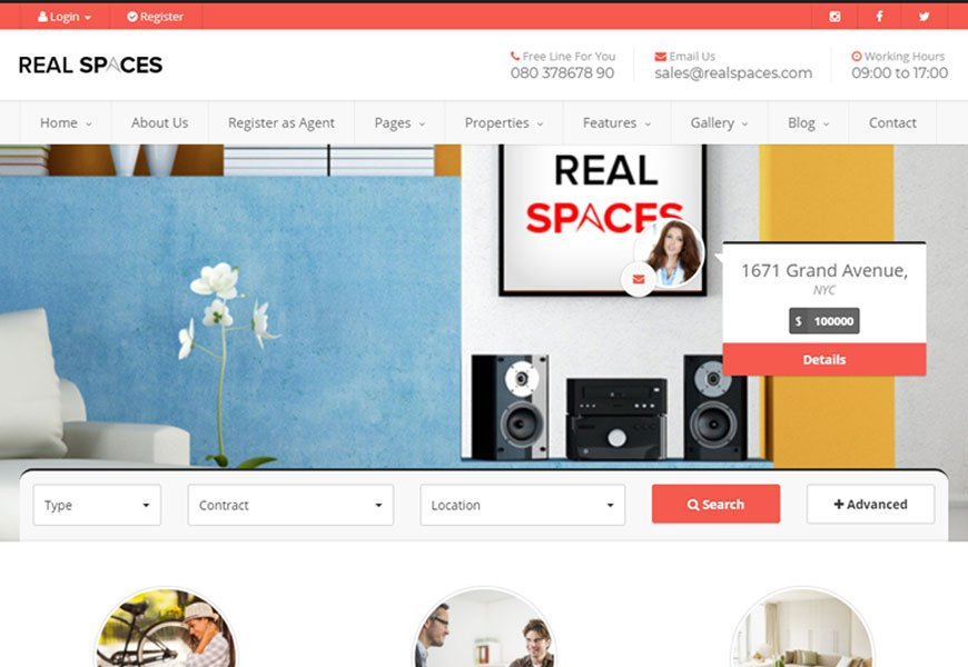 Real Spaces - directory website templates