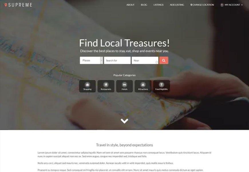 Supreme Directory - free directory WordPress theme