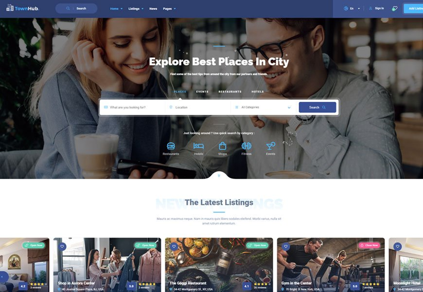 Townhub - directory website template