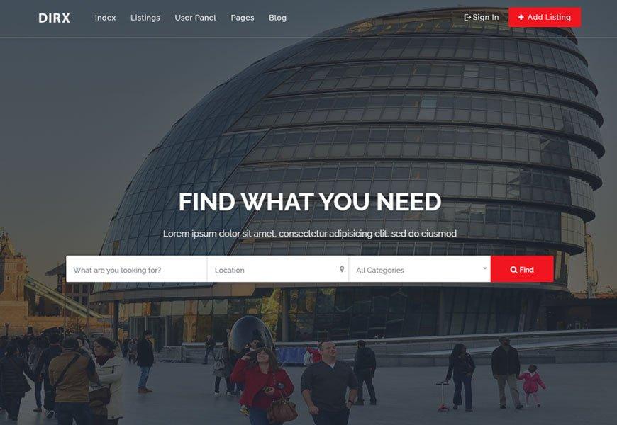Dirx - local business directory website template