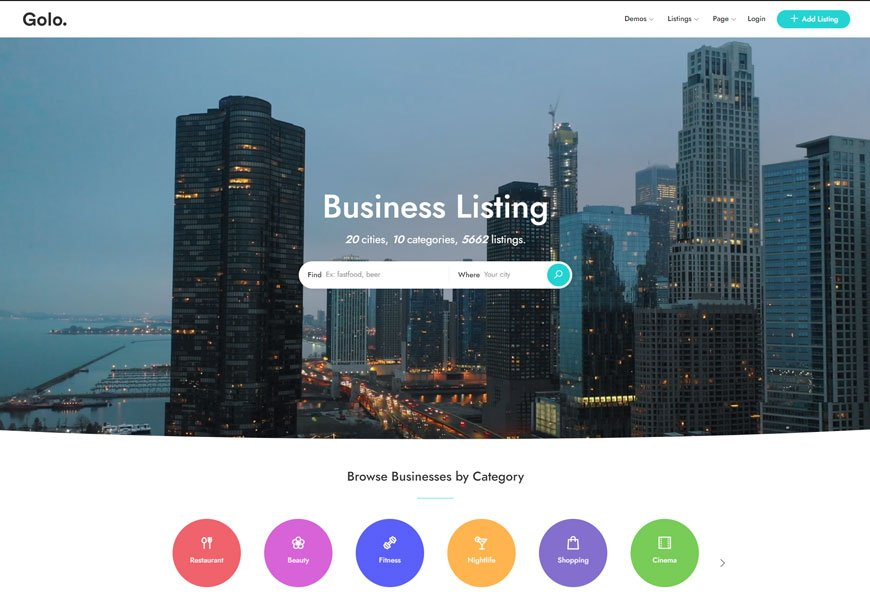 Golo - directory listing website template