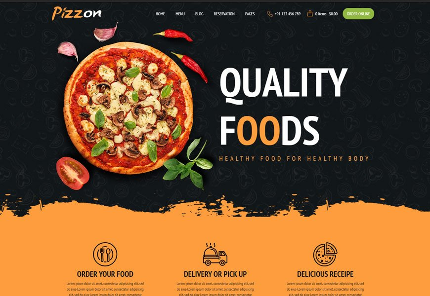 Pizzon - pizza restaurants website template