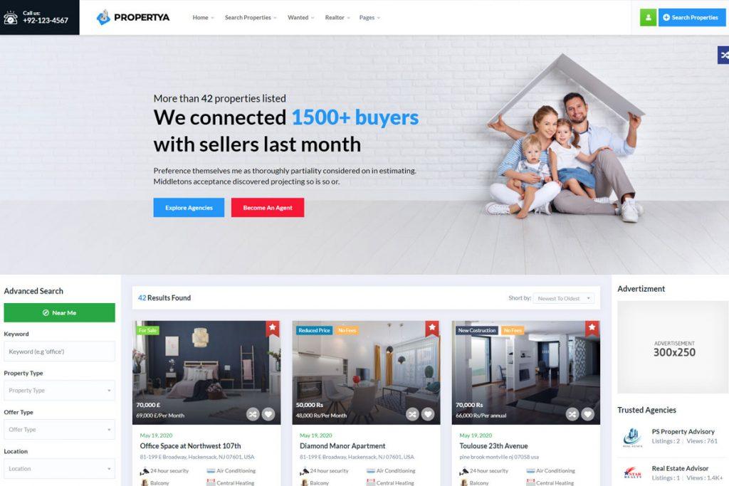 Propertya - property listing WordPress theme