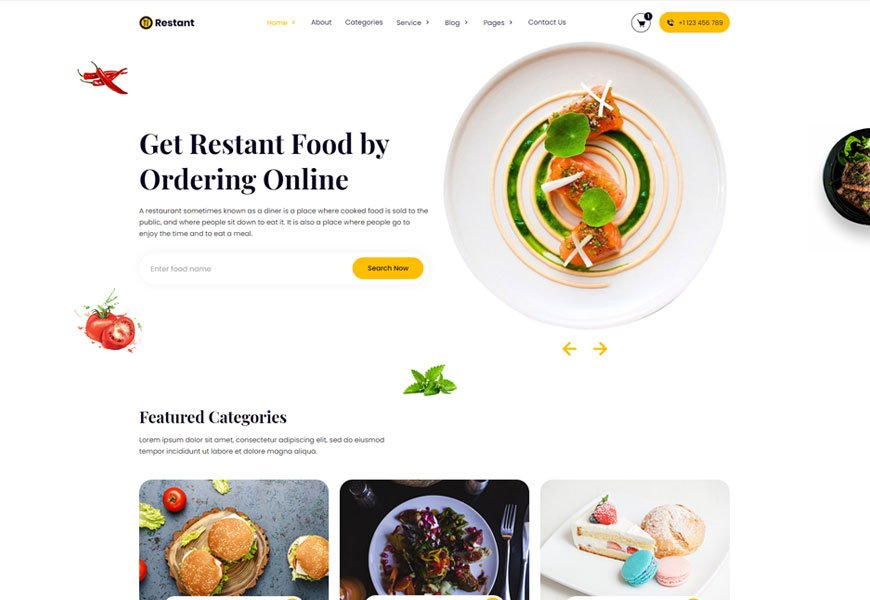 Restant - pizza and food delivery website template