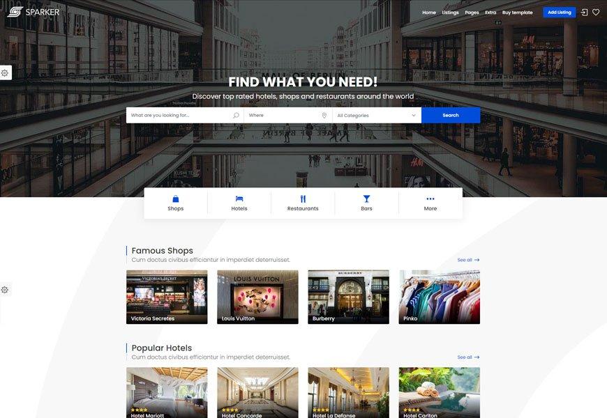 Sparker - business directory website template