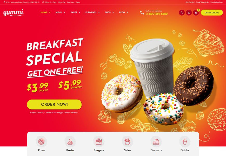 Yummi is a pizza delivery website template