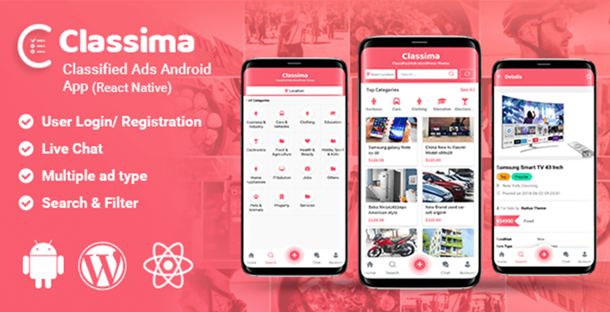 Classima - React Native App Templates