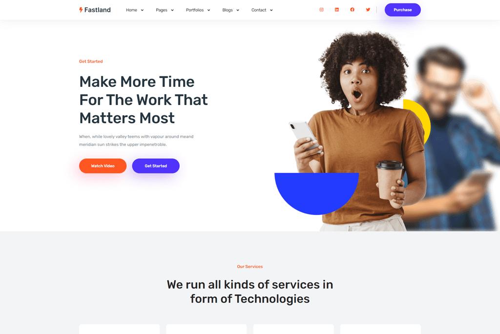 Fastland - multipurpose SaaS website template